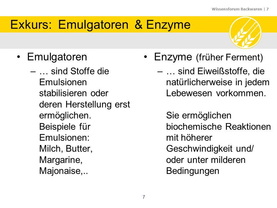 Wissensforum Backwaren   8 88 Exkurs: Emulgatoren & Enzyme Emulgatoren –… sind Stoffe die Emulsionen stabilisieren oder deren Herstellung erst ermöglichen.