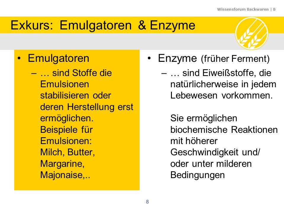Wissensforum Backwaren | 8 88 Exkurs: Emulgatoren & Enzyme Emulgatoren –… sind Stoffe die Emulsionen stabilisieren oder deren Herstellung erst ermögli