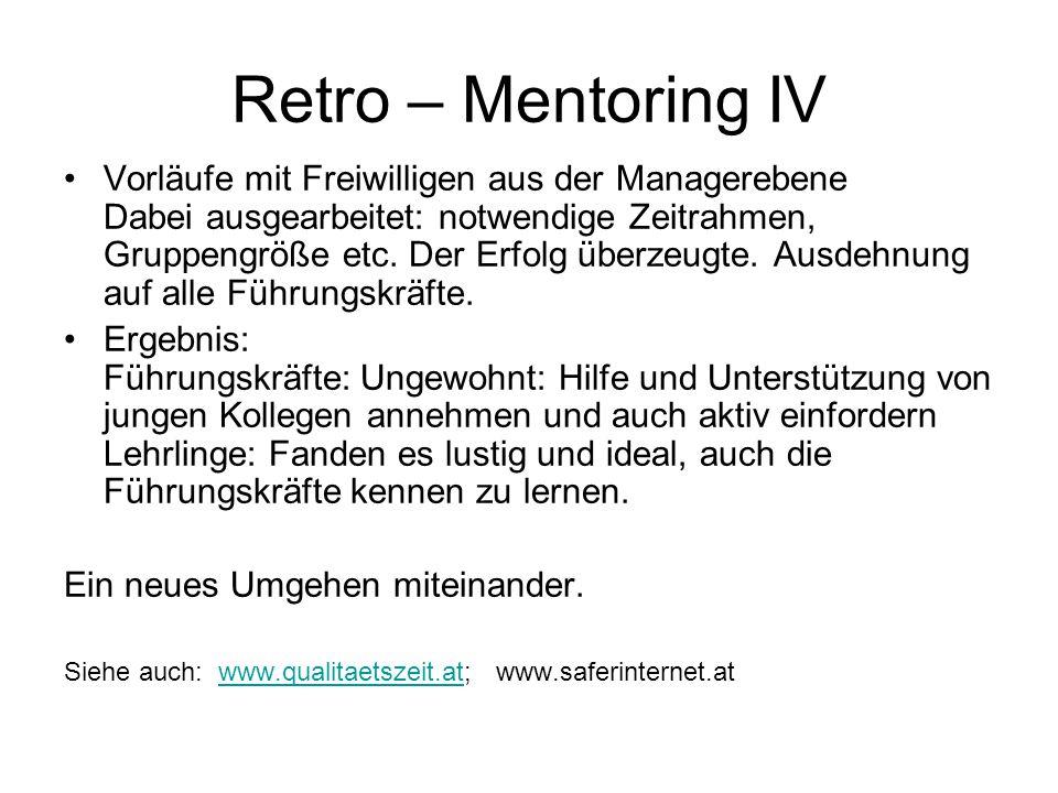 Retro – Mentoring IV Vorläufe mit Freiwilligen aus der Managerebene Dabei ausgearbeitet: notwendige Zeitrahmen, Gruppengröße etc. Der Erfolg überzeugt
