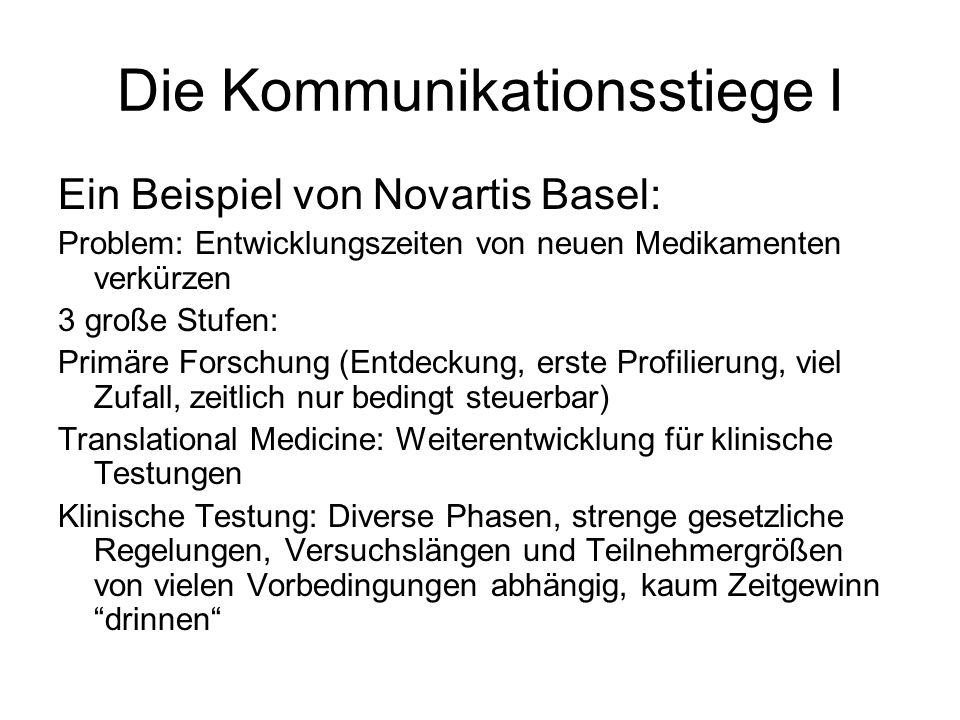 Die Kommunikationsstiege I Ein Beispiel von Novartis Basel: Problem: Entwicklungszeiten von neuen Medikamenten verkürzen 3 große Stufen: Primäre Forsc
