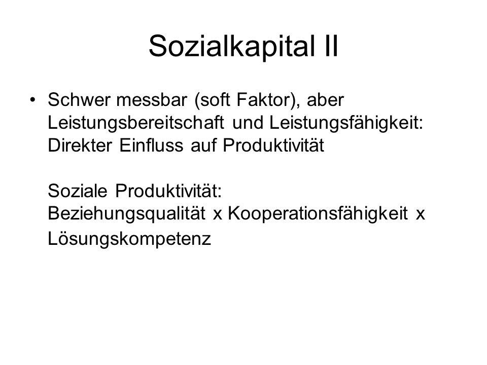 Sozialkapital II Schwer messbar (soft Faktor), aber Leistungsbereitschaft und Leistungsfähigkeit: Direkter Einfluss auf Produktivität Soziale Produkti