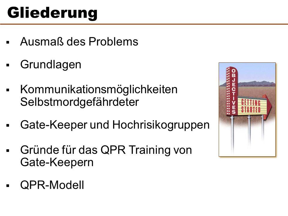  Ausmaß des Problems  Grundlagen  Kommunikationsmöglichkeiten Selbstmordgefährdeter  Gate-Keeper und Hochrisikogruppen  Gründe für das QPR Training von Gate-Keepern  QPR-Modell 2 Gliederung