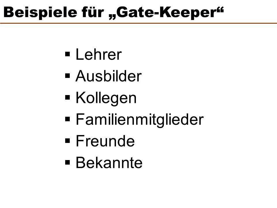 """ Lehrer  Ausbilder  Kollegen  Familienmitglieder  Freunde  Bekannte Beispiele für """"Gate-Keeper"""