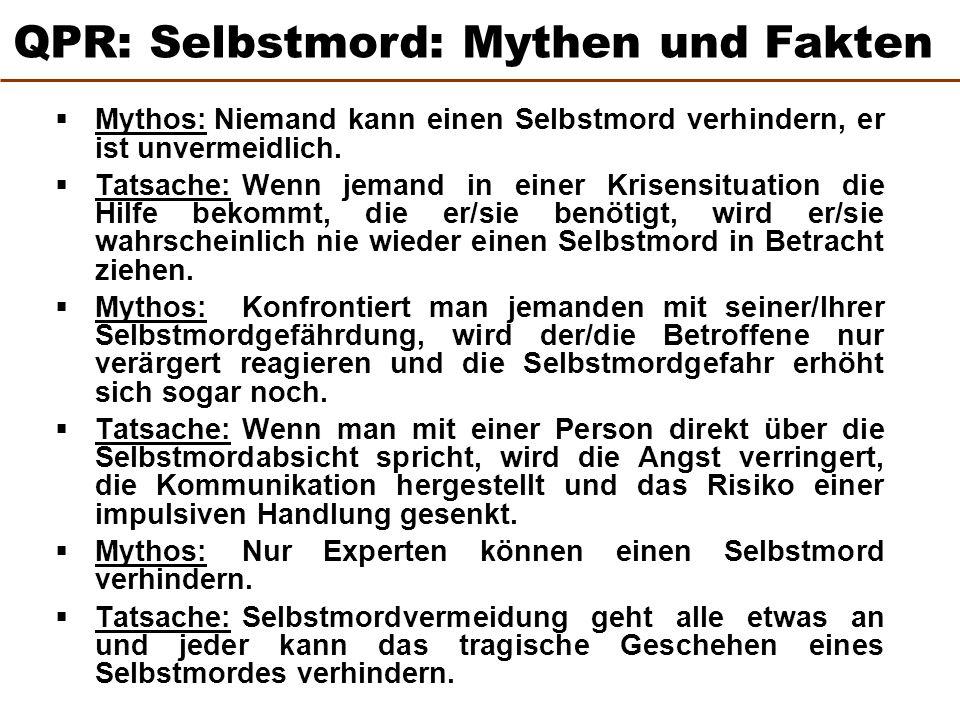  Mythos:Niemand kann einen Selbstmord verhindern, er ist unvermeidlich.