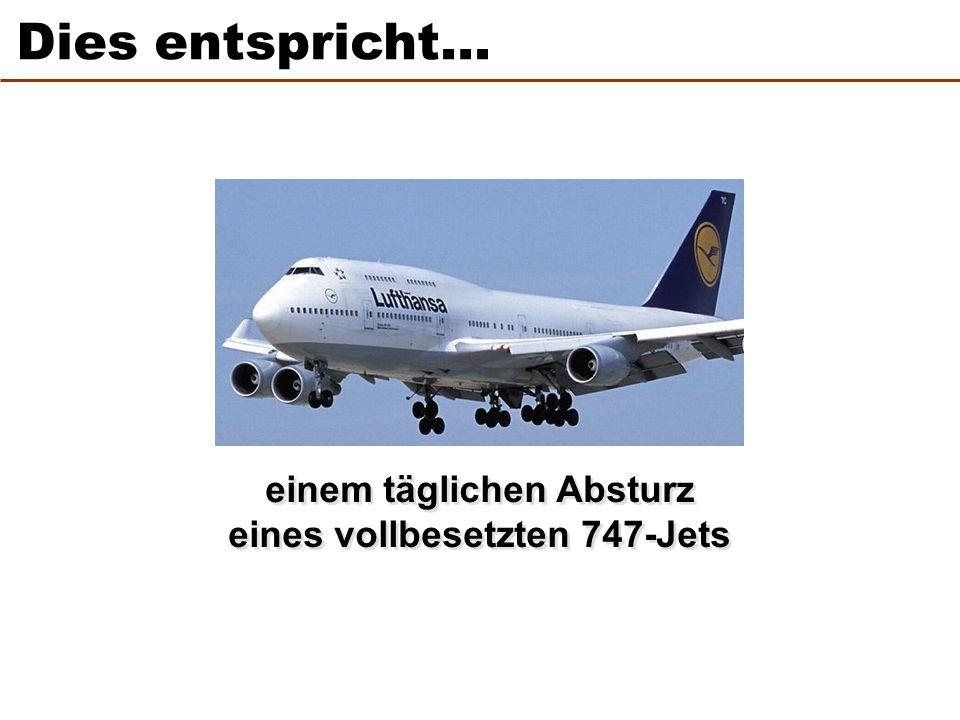 einem täglichen Absturz eines vollbesetzten 747-Jets einem täglichen Absturz eines vollbesetzten 747-Jets Dies entspricht…