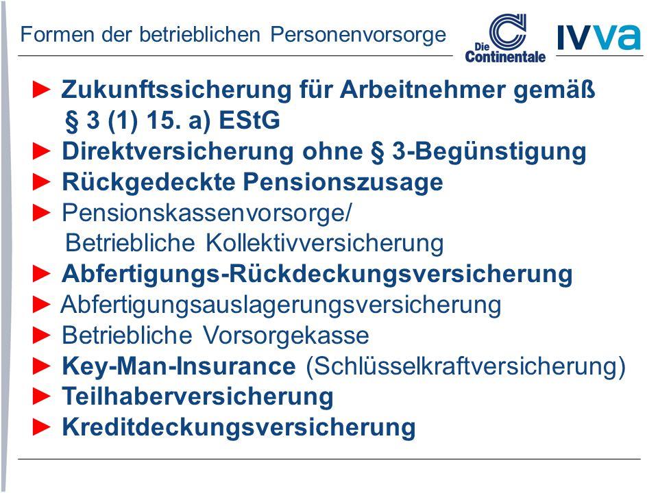 ► Zukunftssicherung für Arbeitnehmer gemäß § 3 (1) 15. a) EStG ► Direktversicherung ohne § 3-Begünstigung ► Rückgedeckte Pensionszusage ► Pensionskass