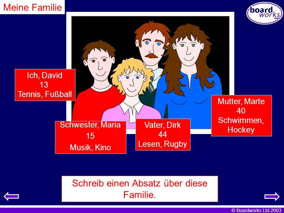 © Boardworks Ltd 2003 Meine Familie Schreib einen Absatz über diese Familie.