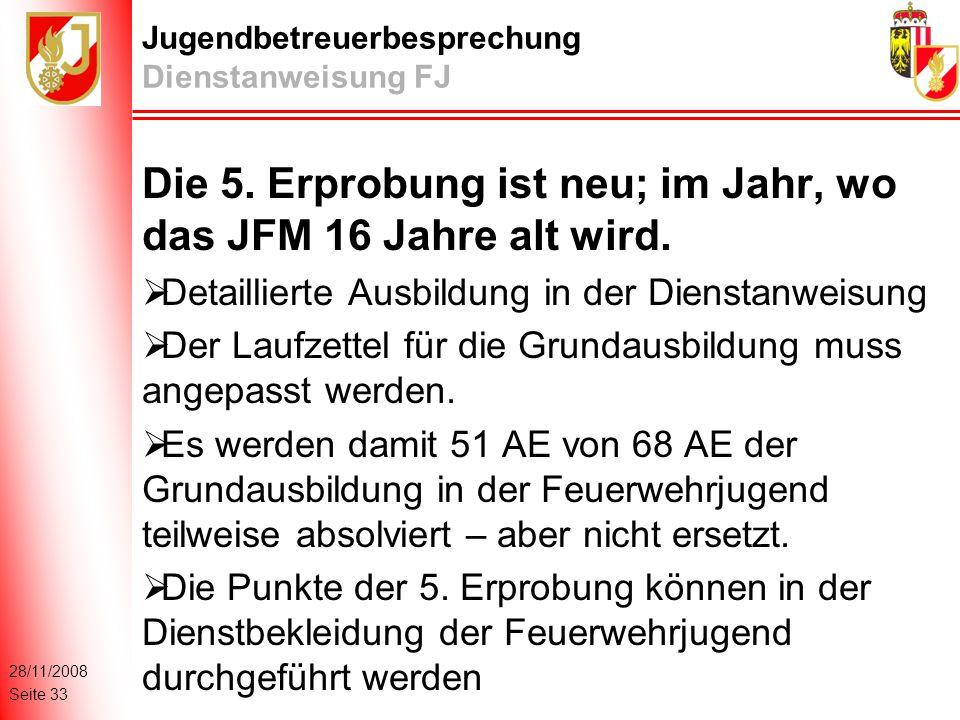 28/11/2008 Seite 33 Jugendbetreuerbesprechung Dienstanweisung FJ Die 5.