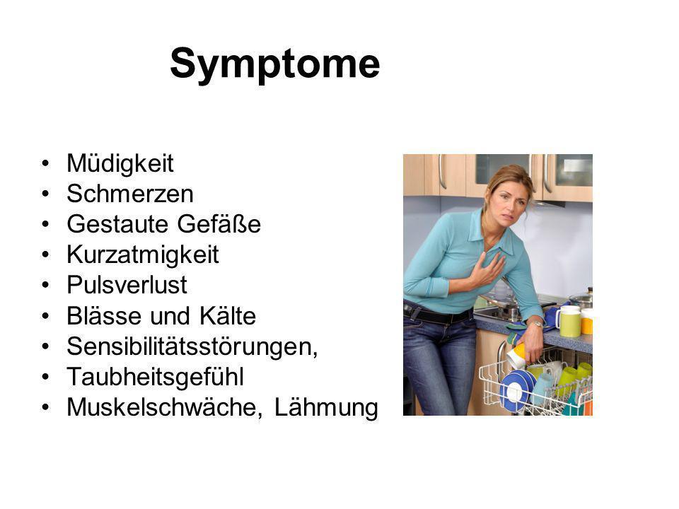 Symptome Müdigkeit Schmerzen Gestaute Gefäße Kurzatmigkeit Pulsverlust Blässe und Kälte Sensibilitätsstörungen, Taubheitsgefühl Muskelschwäche, Lähmun