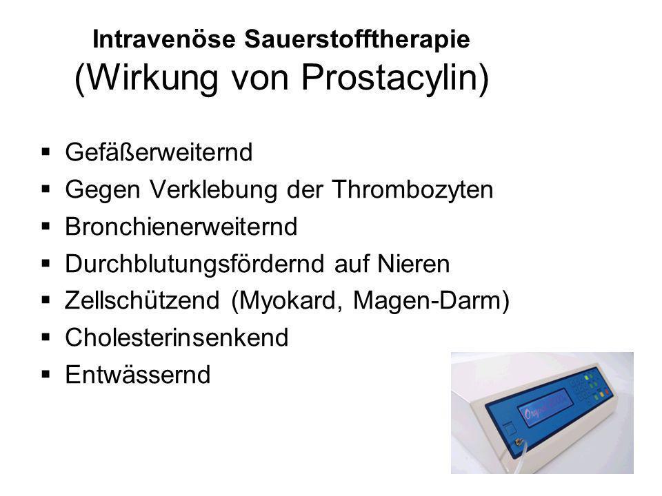 Intravenöse Sauerstofftherapie (Wirkung von Prostacylin)  Gefäßerweiternd  Gegen Verklebung der Thrombozyten  Bronchienerweiternd  Durchblutungsfö