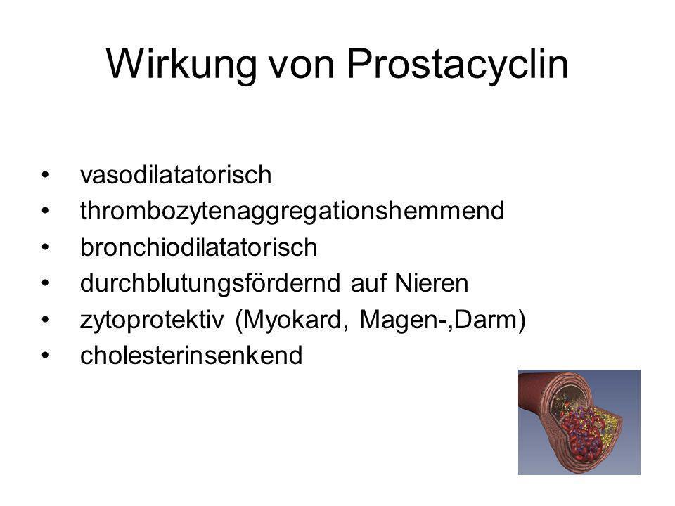 Wirkung von Prostacyclin vasodilatatorisch thrombozytenaggregationshemmend bronchiodilatatorisch durchblutungsfördernd auf Nieren zytoprotektiv (Myoka
