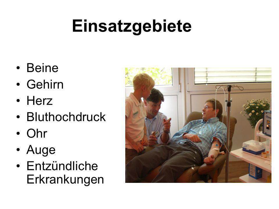 Einsatzgebiete Beine Gehirn Herz Bluthochdruck Ohr Auge Entzündliche Erkrankungen