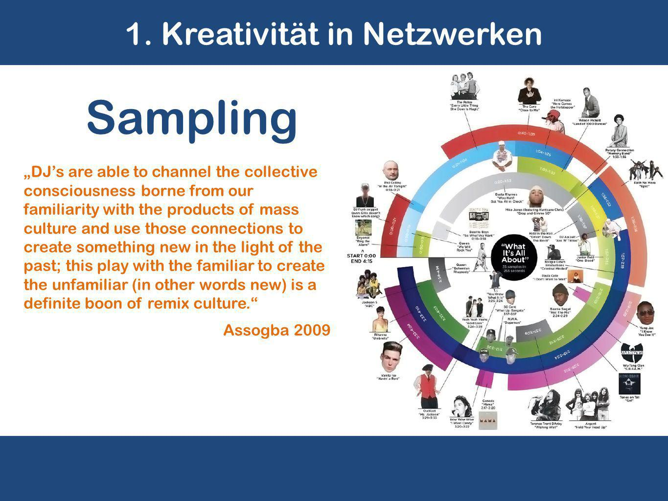"1. Kreativität in Netzwerken ""DJ's are able to channel the collective consciousness borne from our familiarity with the products of mass culture and u"