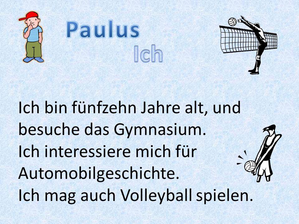 Ich bin fünfzehn Jahre alt, und besuche das Gymnasium. Ich interessiere mich für Automobilgeschichte. Ich mag auch Volleyball spielen.