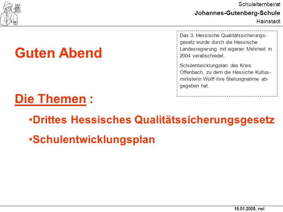19.01.2005, rwi Schulelternbeirat Johannes-Gutenberg-Schule Hainstadt Drittes Qualitätssicherungsgesetz, verabschiedet am 26.11.2004 und regelt u.a.
