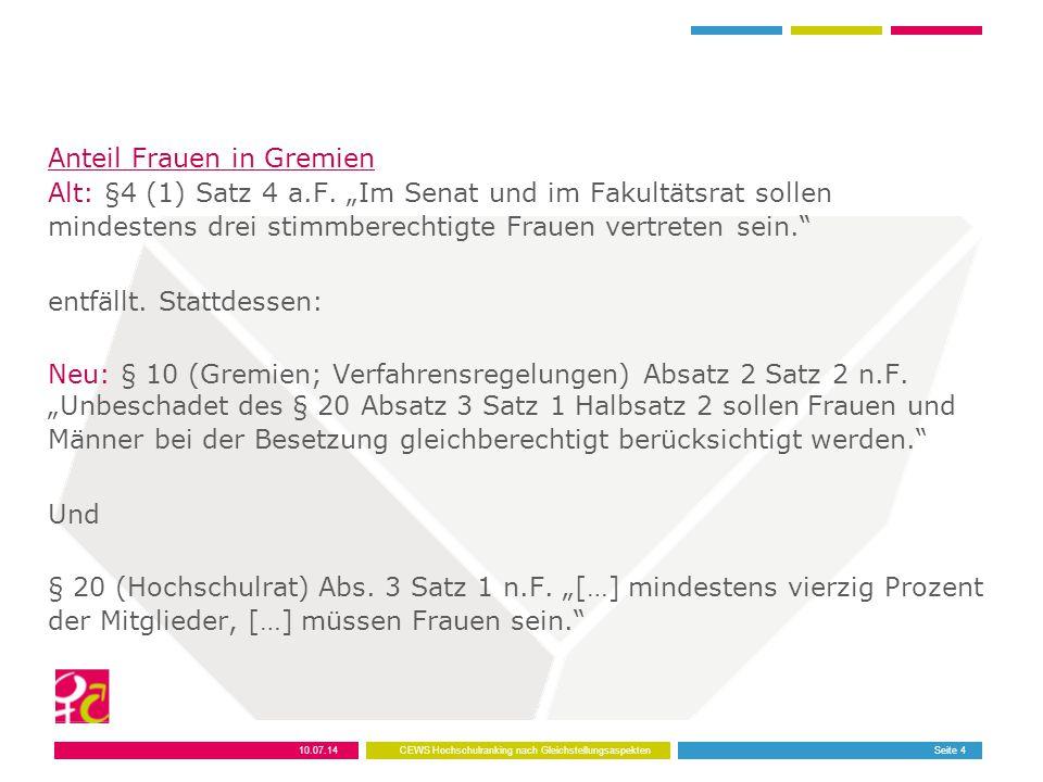 Beteiligung in Berufungskommissionen Alt: Gleichstellungsbeauftragten beratend Neu: Gleichstellungsbeauftragte mit Stimmrecht (§4 Abs.