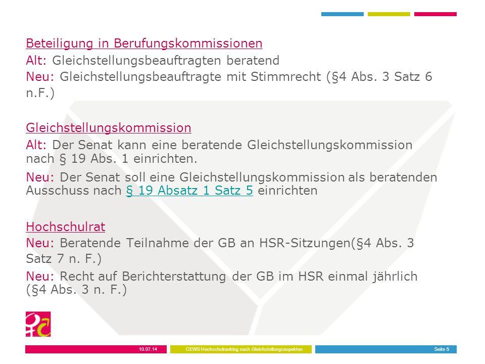Beteiligung in Berufungskommissionen Alt: Gleichstellungsbeauftragten beratend Neu: Gleichstellungsbeauftragte mit Stimmrecht (§4 Abs. 3 Satz 6 n.F.)