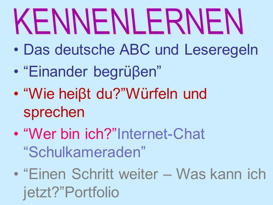 """Das deutsche ABC und Leseregeln """"Einander begrüβen"""" """"Wie heiβt du?""""Würfeln und sprechen """"Wer bin ich?""""Internet-Chat """"Schulkameraden"""" """"Einen Schritt we"""