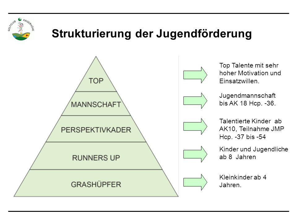 Strukturierung der Jugendförderung Top Talente mit sehr hoher Motivation und Einsatzwillen.
