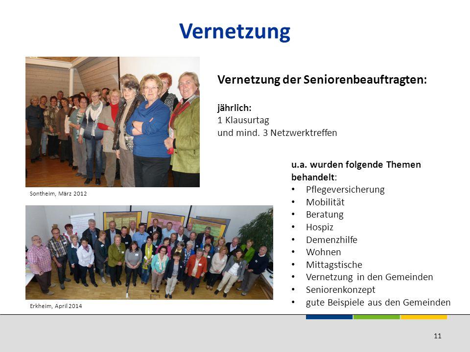 Vernetzung Sontheim, März 2012 Vernetzung der Seniorenbeauftragten: jährlich: 1 Klausurtag und mind.