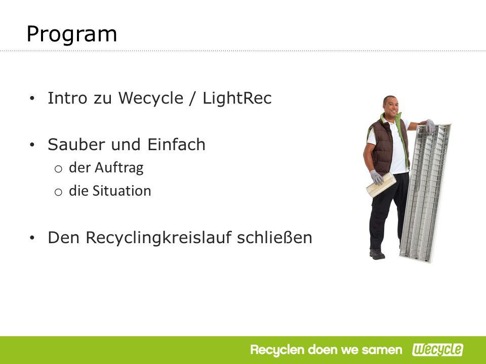 Intro zu Wecycle / LightRec Sauber und Einfach o der Auftrag o die Situation Den Recyclingkreislauf schließen Program