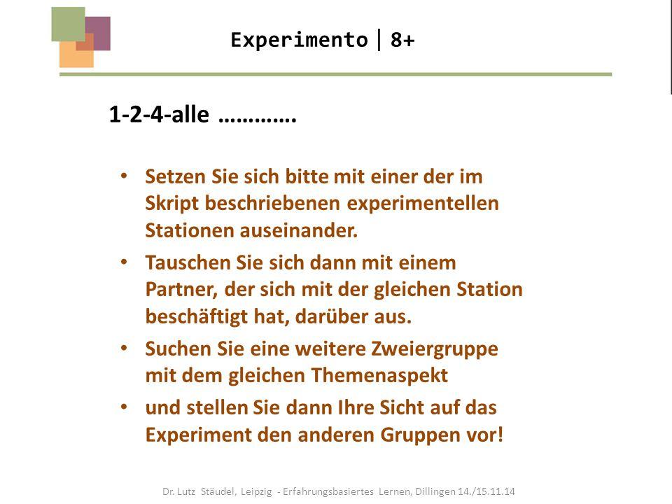 1-2-4-alle …………. Experimento  8+ Setzen Sie sich bitte mit einer der im Skript beschriebenen experimentellen Stationen auseinander. Tauschen Sie sich