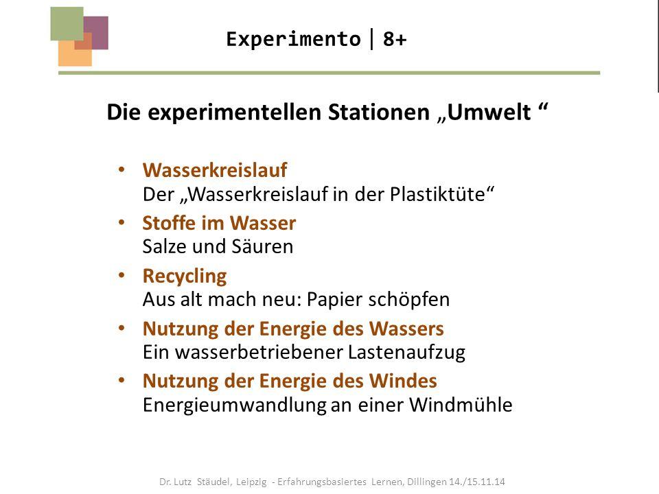 """Die experimentellen Stationen """"Umwelt """" Experimento  8+ Wasserkreislauf Der """"Wasserkreislauf in der Plastiktüte"""" Stoffe im Wasser Salze und Säuren Re"""