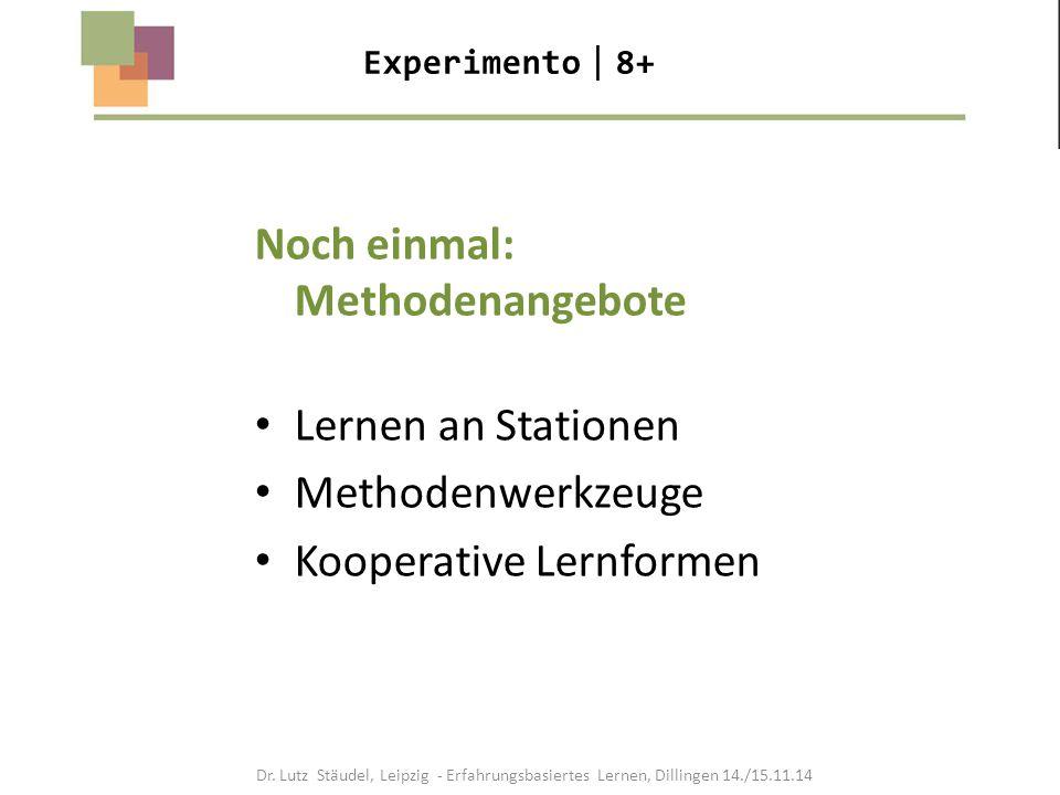 Experimento  8+ Noch einmal: Methodenangebote Lernen an Stationen Methodenwerkzeuge Kooperative Lernformen Dr. Lutz Stäudel, Leipzig - Erfahrungsbasi