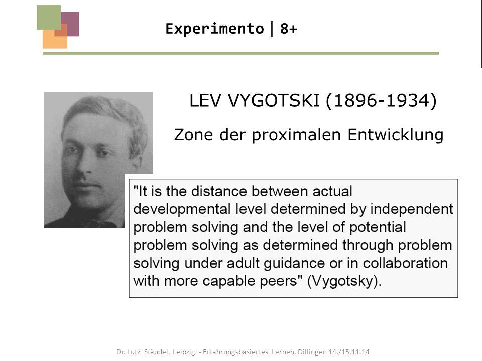 LEV VYGOTSKI (1896-1934) Zone der proximalen Entwicklung Experimento  8+ Dr. Lutz Stäudel, Leipzig - Erfahrungsbasiertes Lernen, Dillingen 14./15.11.