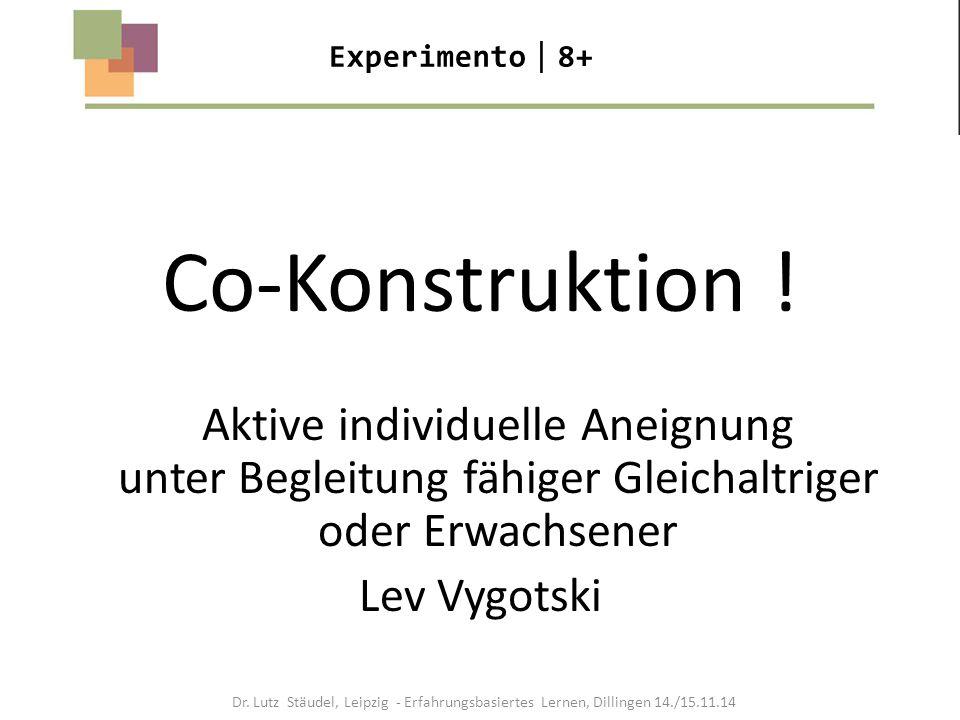 Co-Konstruktion ! Aktive individuelle Aneignung unter Begleitung fähiger Gleichaltriger oder Erwachsener Lev Vygotski Experimento  8+ Dr. Lutz Stäude