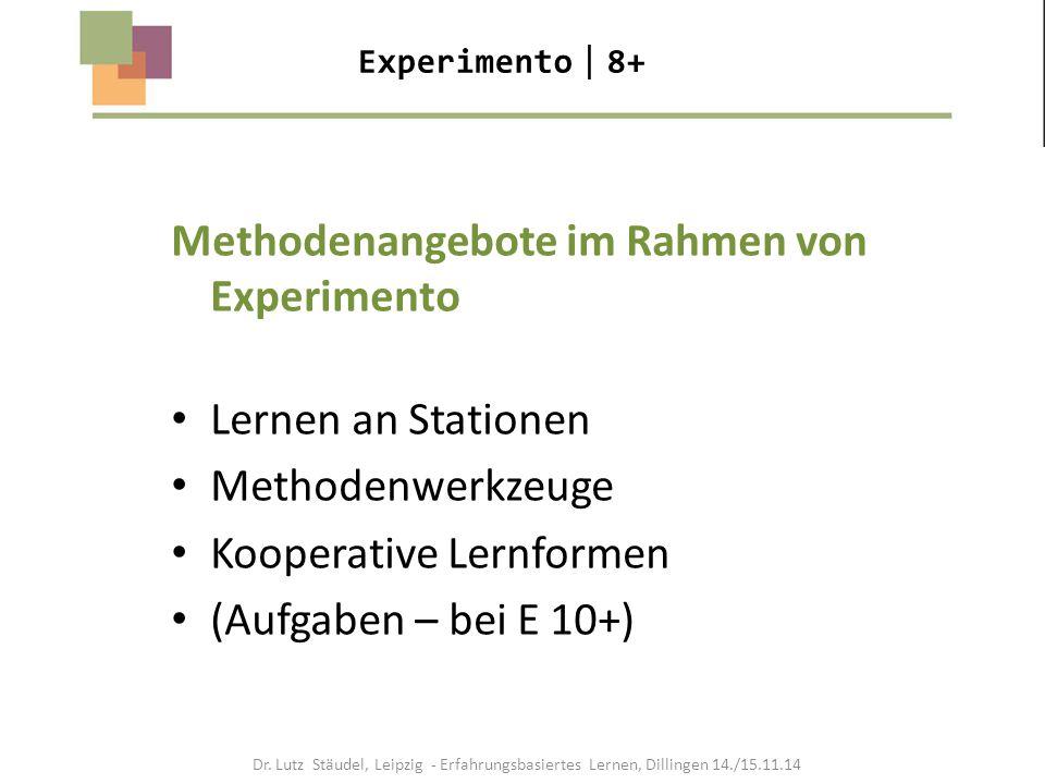Experimento  8+ Methodenangebote im Rahmen von Experimento Lernen an Stationen Methodenwerkzeuge Kooperative Lernformen (Aufgaben – bei E 10+) Dr. Lu