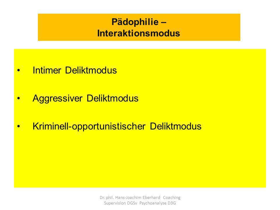 Intimer Deliktmodus Aggressiver Deliktmodus Kriminell-opportunistischer Deliktmodus Pädophilie – Interaktionsmodus Dr.