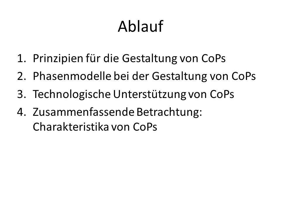 Ablauf 1.Prinzipien für die Gestaltung von CoPs 2.Phasenmodelle bei der Gestaltung von CoPs 3.Technologische Unterstützung von CoPs 4.Zusammenfassende Betrachtung: Charakteristika von CoPs