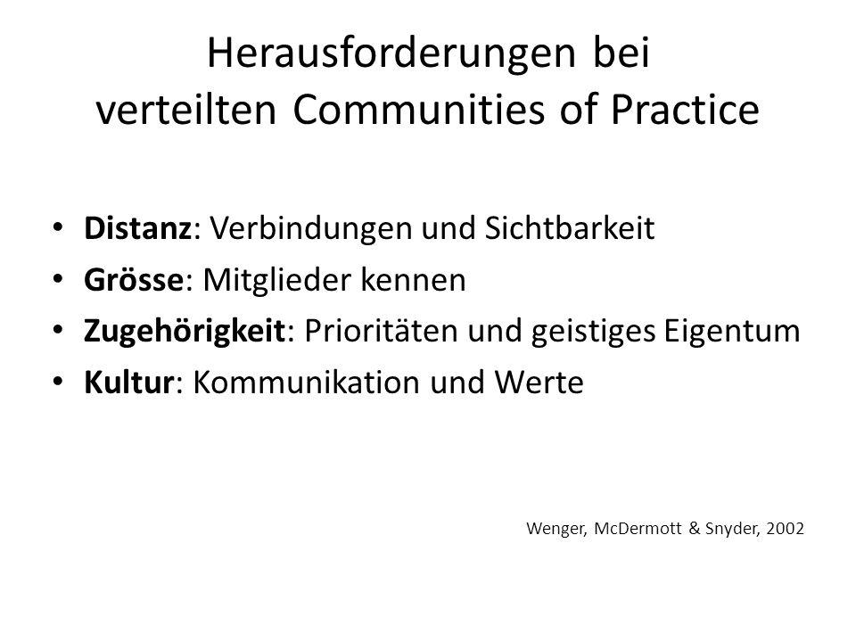 Herausforderungen bei verteilten Communities of Practice Distanz: Verbindungen und Sichtbarkeit Grösse: Mitglieder kennen Zugehörigkeit: Prioritäten und geistiges Eigentum Kultur: Kommunikation und Werte Wenger, McDermott & Snyder, 2002