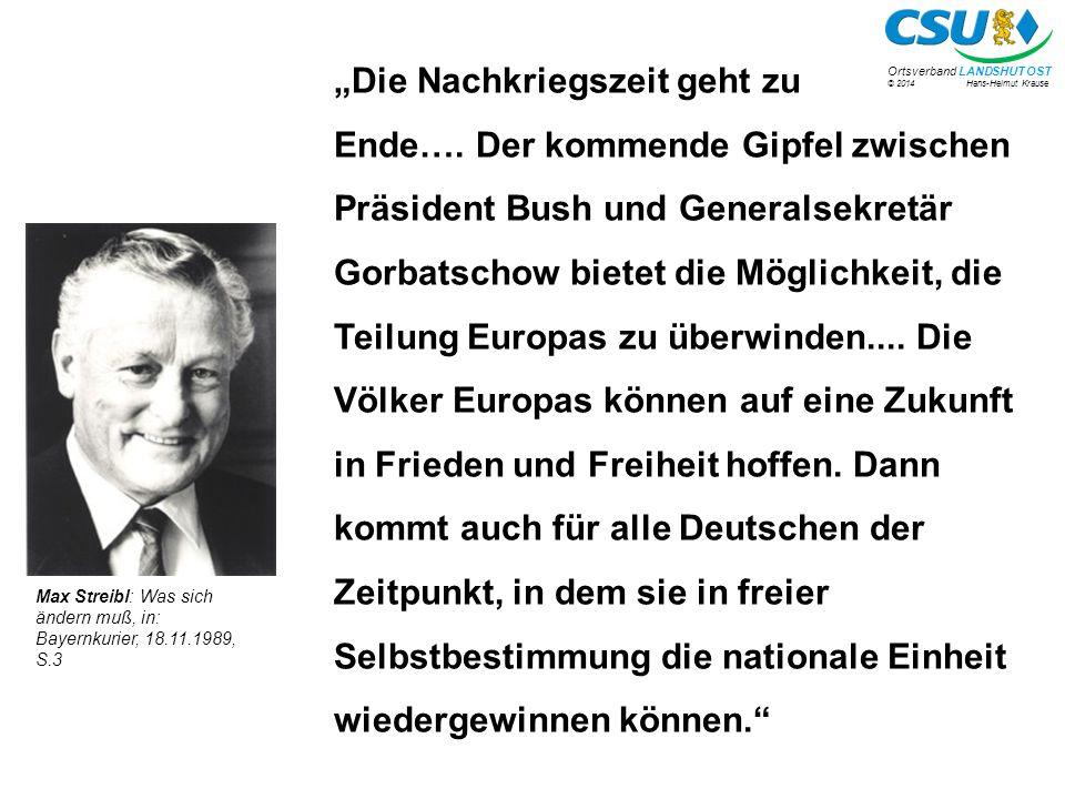 """© 2014 Hans-Helmut Krause Ortsverband LANDSHUT OST """"Die Nachkriegszeit geht zu Ende…."""