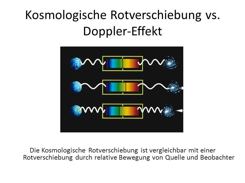 Kosmologische Rotverschiebung vs. Doppler-Effekt Die Kosmologische Rotverschiebung ist vergleichbar mit einer Rotverschiebung durch relative Bewegung