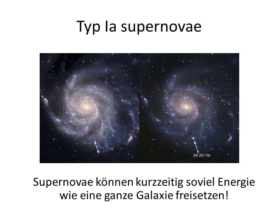 Typ Ia supernovae Supernovae können kurzzeitig soviel Energie wie eine ganze Galaxie freisetzen!