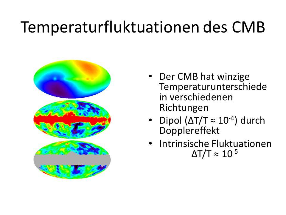 Temperaturfluktuationen des CMB Der CMB hat winzige Temperaturunterschiede in verschiedenen Richtungen Dipol (ΔT/T ≈ 10 -4 ) durch Dopplereffekt Intri