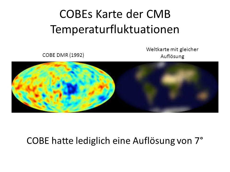 COBEs Karte der CMB Temperaturfluktuationen COBE hatte lediglich eine Auflösung von 7° COBE DMR (1992) Weltkarte mit gleicher Auflösung