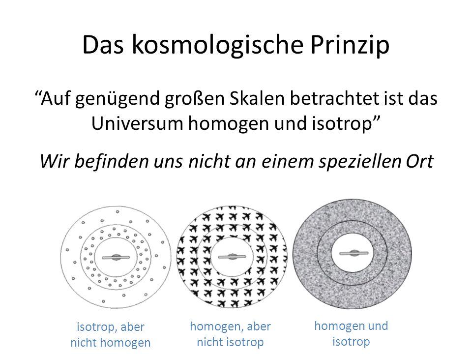 """Das kosmologische Prinzip """"Auf genügend großen Skalen betrachtet ist das Universum homogen und isotrop"""" Wir befinden uns nicht an einem speziellen Ort"""