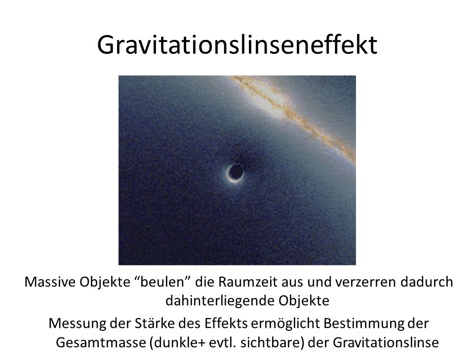 """Gravitationslinseneffekt Massive Objekte """"beulen"""" die Raumzeit aus und verzerren dadurch dahinterliegende Objekte Messung der Stärke des Effekts ermög"""