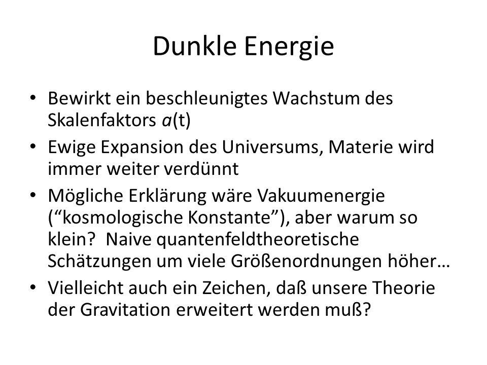 Dunkle Energie Bewirkt ein beschleunigtes Wachstum des Skalenfaktors a(t) Ewige Expansion des Universums, Materie wird immer weiter verdünnt Mögliche