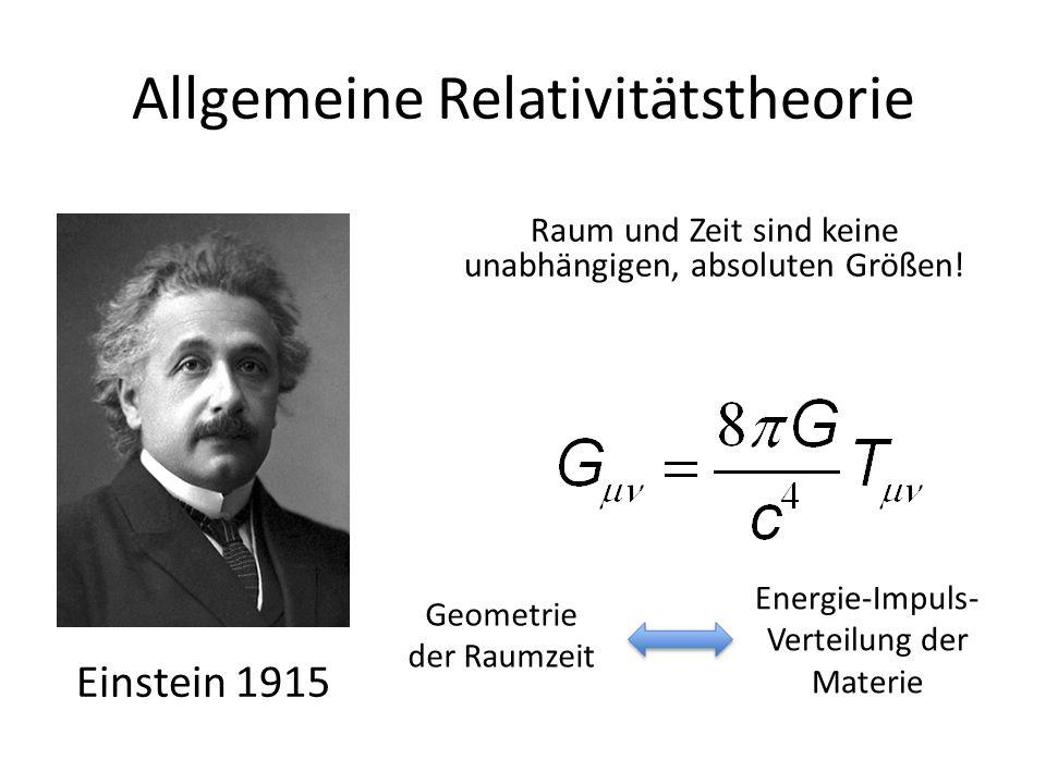 Allgemeine Relativitätstheorie Einstein 1915 Geometrie der Raumzeit Energie-Impuls- Verteilung der Materie Raum und Zeit sind keine unabhängigen, abso