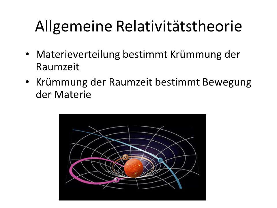 Allgemeine Relativitätstheorie Materieverteilung bestimmt Krümmung der Raumzeit Krümmung der Raumzeit bestimmt Bewegung der Materie