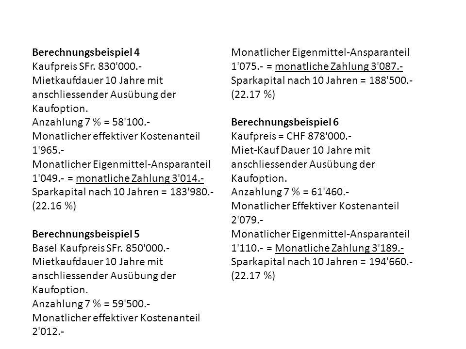 Berechnungsbeispiel 4 Kaufpreis SFr.