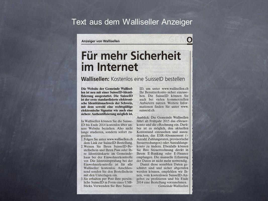 Text aus dem Walliseller Anzeiger