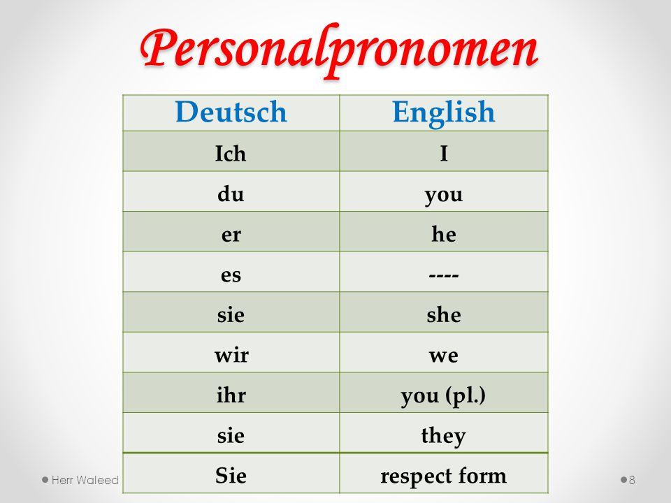 Personalpronomen 8 DeutschEnglish IchI duyou erhe es---- sieshe wirwe ihryou (pl.) siethey Sierespect form