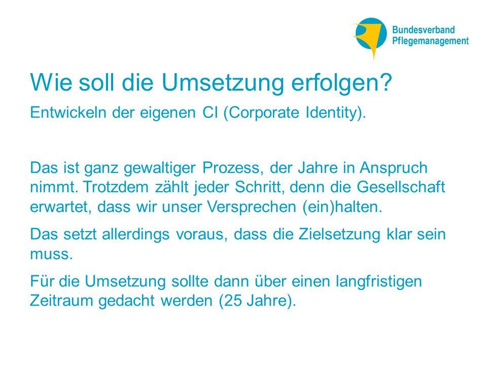 Wie soll die Umsetzung erfolgen.Entwickeln der eigenen CI (Corporate Identity).