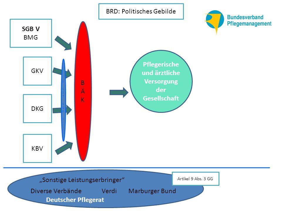 """KBV DKG GKV SGB V BMG BÄKBÄK Verdi """"Sonstige Leistungserbringer BRD: Politisches Gebilde Marburger BundDiverse Verbände Deutscher Pflegerat Artikel 9 Abs."""