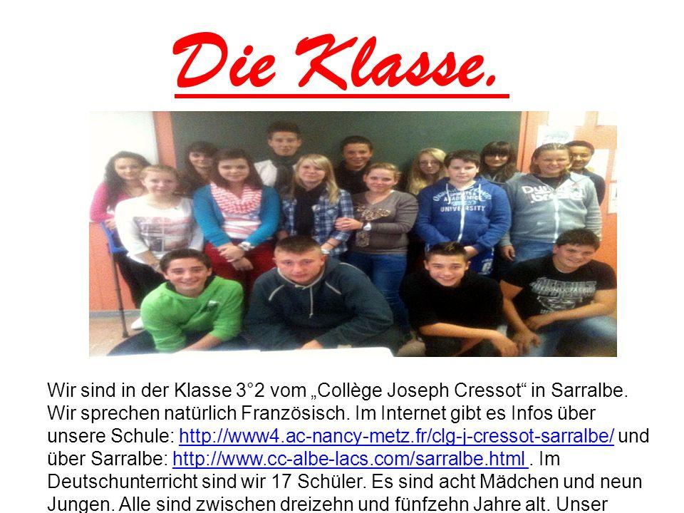 """Die Klasse. Wir sind in der Klasse 3°2 vom """"Collège Joseph Cressot"""" in Sarralbe. Wir sprechen natürlich Französisch. Im Internet gibt es Infos über un"""